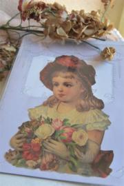 """vel met grote poezieplaat """" meisje met bloemen"""""""