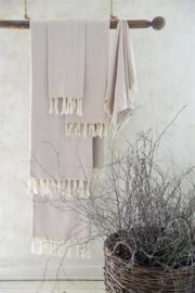 handdoek met franje in creme/ vintage