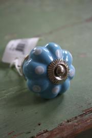 """porseleinen gebloemd knopje """"Blauw met stippen"""""""