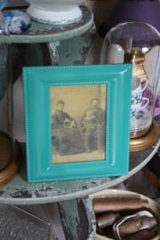 mooie turqoise/groene  metalen fotolijst