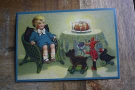 "ansichtkaart met glitter "" verjaardags visite"""