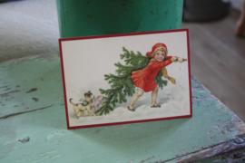 """ansichtkaart met glitter """"samen slepen we de kerstboom"""""""