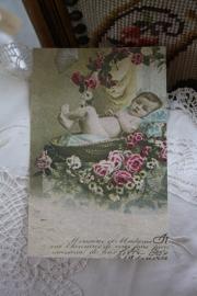 """mooie dubbele kaart van handgeschept papier """" baby in bloemenmand"""""""