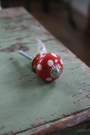 """mooie porseleinen knop """"rood met witte stippen"""""""