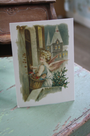 """ansichtkaart met glitter """" engeltje aan de deur"""""""