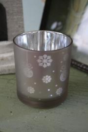 waxinelichtje met kerstdecoratie in beige M