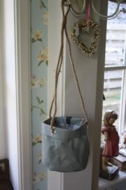 """stoffen planten tas aan touw """" Jade groen"""""""
