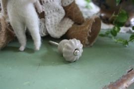 "mooi kastknopje ""champignon geribbeld"" beige taupe"""