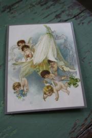 """ansichtkaart met glitter """" engeltjes uit een bloem"""""""