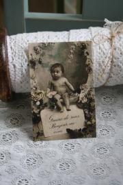"""mooi kaartje van handgeschept papier """" schattige baby"""""""