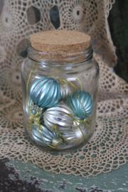 """glazen pot met miniballetjes in zacht pastel """"aqua"""""""