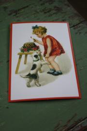 """ansichtkaart met glitter """"taart versieren voor de hond"""""""