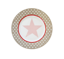 "Happy plate ""Taupe big star"""