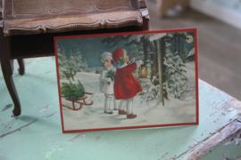"""ansichtkaart met glitter """" wandelen door de sneeuw"""""""