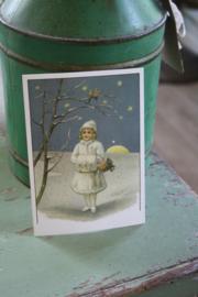 """ansichtkaart met glitter """" wintermeisje"""""""