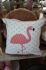 vrolijk kussenhoesje met flamingo