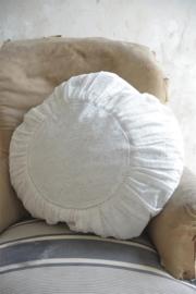 groot rond kussen met kanten stof in cream white