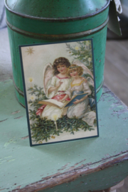 """ansichtkaart met glitter """"Engelen lezen voor"""""""