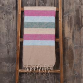 handgemaakte dunnen plaid in roze/blauw /creme