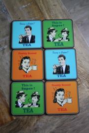 """set van 6 onderzetters """" tea time"""""""