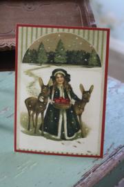 """ansichtkaart met glitter """" meisje met de herten"""""""