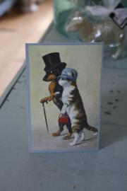 """schattig kaartje """" Hond en poes paar"""""""