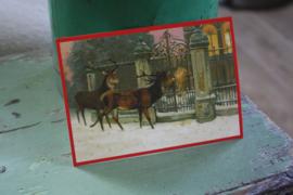 """ansichtkaart met glitter """"Herten bij de poort"""""""