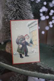 """schattig kaartje"""" Santa met boompje"""""""