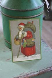 """ansichtkaart met glitter """"De kerstman met kadootjes"""""""