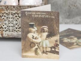 """prachtige dubbele kaart met envelop """" meisje en de sneeuwpop"""""""