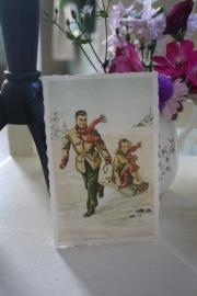 """oud-Hollandse ansichtkaart """"Met de slede"""""""