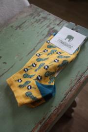 """heerlijke sneakersokken """"Botanic yellow""""  maat 39-42"""
