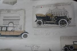 behang met auto's in zachte kleuren