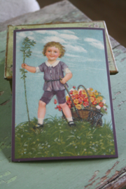 "ansichtkaart met glitter "" bloemen in de kar"""