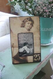 mooie houten fotolijst met engel