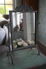 mooie grijs metalen staande spiegel