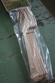 set van 8 houten vorken