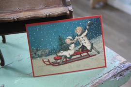 """ansichtkaart met glitter """" sleetje rijden  in de sneeuw"""""""