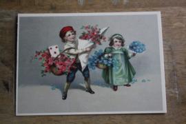 "ansichtkaartje met glitter ""bloemen brengen"""