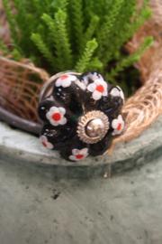 """mooie porseleinen kastknop """"zwart met bloemetjes"""""""