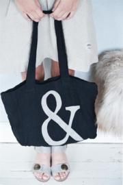 Linnen tas met & print in zwart