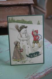 "ansichtkaart met glitter "" sneeuwbal gooien in de sneeuw"""