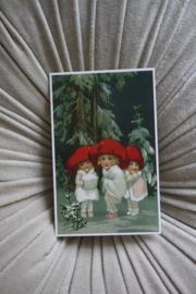 """mooi kaartje """"rode mutsjes in de sneeuw"""""""