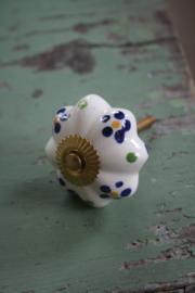 """porseleinen kastknop met goud kleurige schroef """" bloemetjes"""""""