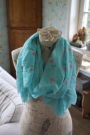 vrolijke sjaal met tulpjes in aqua blauw