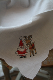 """stoffen broodmand inleg met borduursel """"kerstman en hertje"""""""