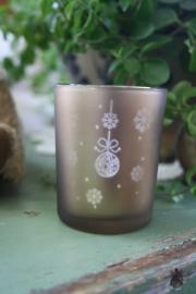 waxinelichtje met kerstdecoratie in brons S