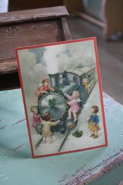 """ansichtkaart met glitter """"met de trein in de sneeuw"""""""