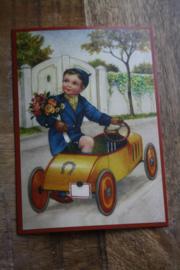 "ansichtkaart met glitter "" in de gele auto"""
