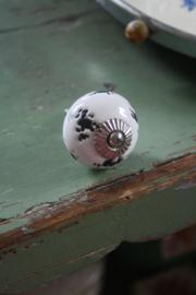 porseleinen knop rond shabby chic craquele wit